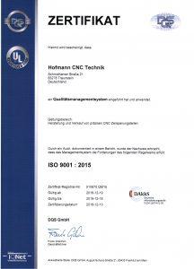 Zertifikat_ISO9001_2015 hofmann cnc technik traunstein
